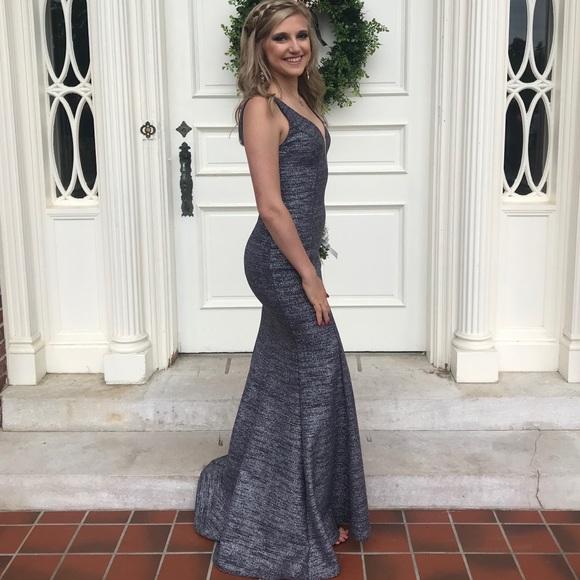 Xscape Dresses | Gray Glitter Mermaid Prom Dress | Poshmark